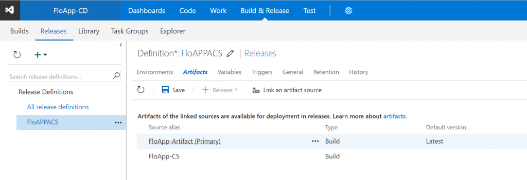 Visual Studio Team Services Releases artifacts