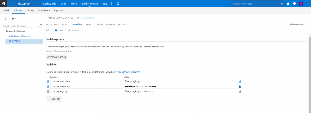 Visual Studio Team Services Release definitions variable groups