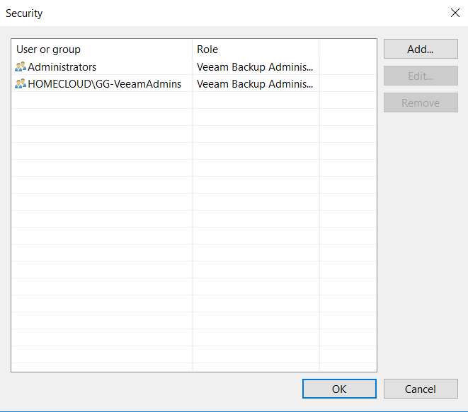 GG-VeamAdmins group as Veeam Backup Administrators