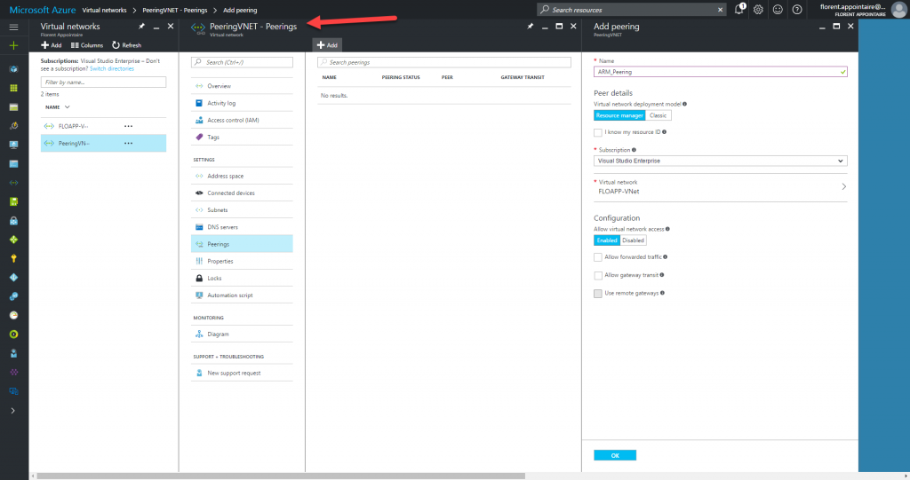 Microsoft Azure Resource Manager virtual networks Peering VNET