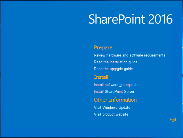 Sharepoint 2016 installation view