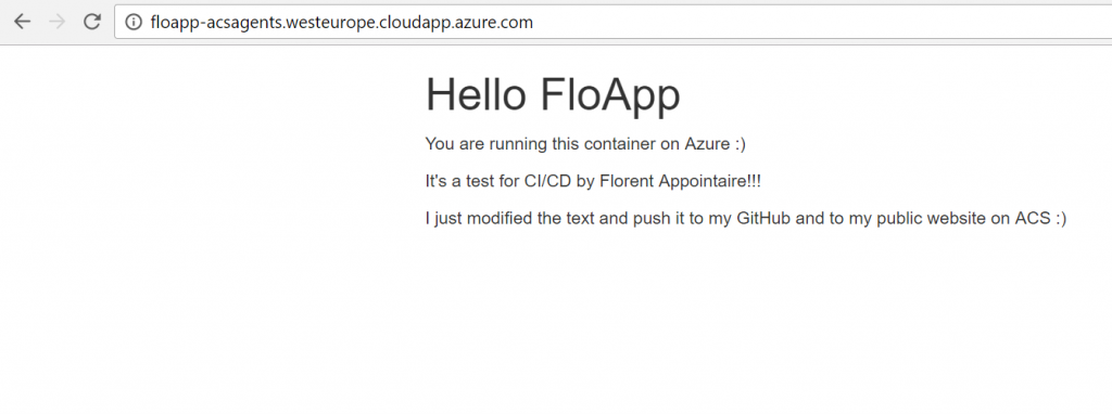 Azure web application view