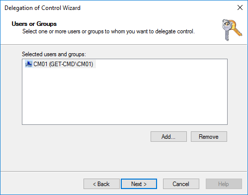 Delegation of control wizard users and groups