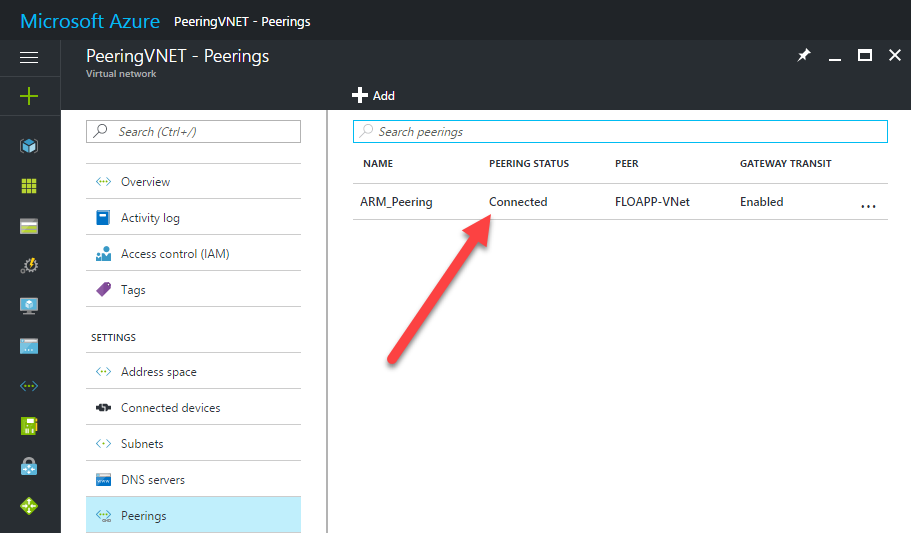 Microsoft Azure Resource Manager virtual networks ARM peering connected