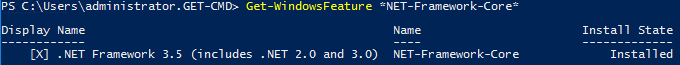 PowerShell command Get-WindowsFeature