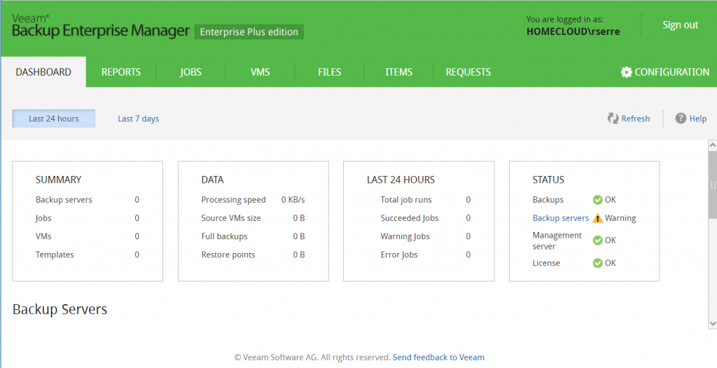 Veeam Backup Enterprise Manager Dashboard backup Servers