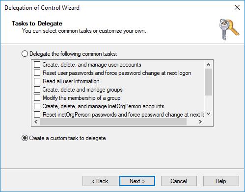 Delegation of Control Wizard Tasks to Delegate