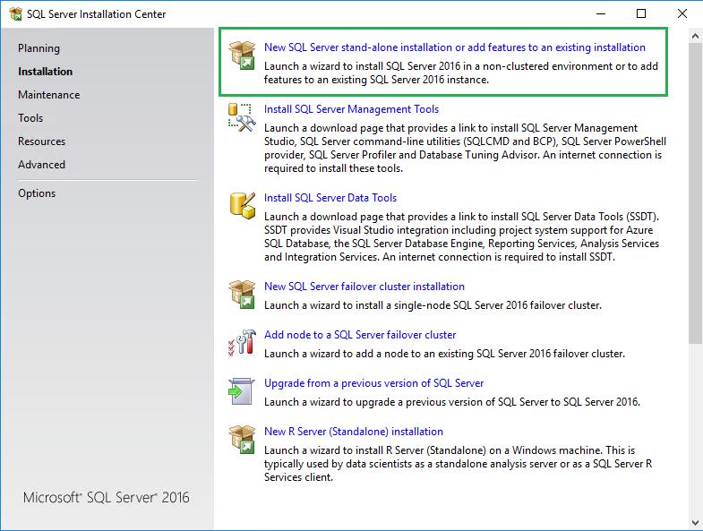 SQL Server Installation Center installation