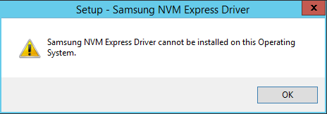 Samsung NVMe Driver on Windows Server 2012 R2 installation error