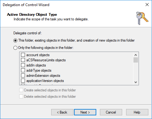 Delegation of Control Wizard Active Directory Object type