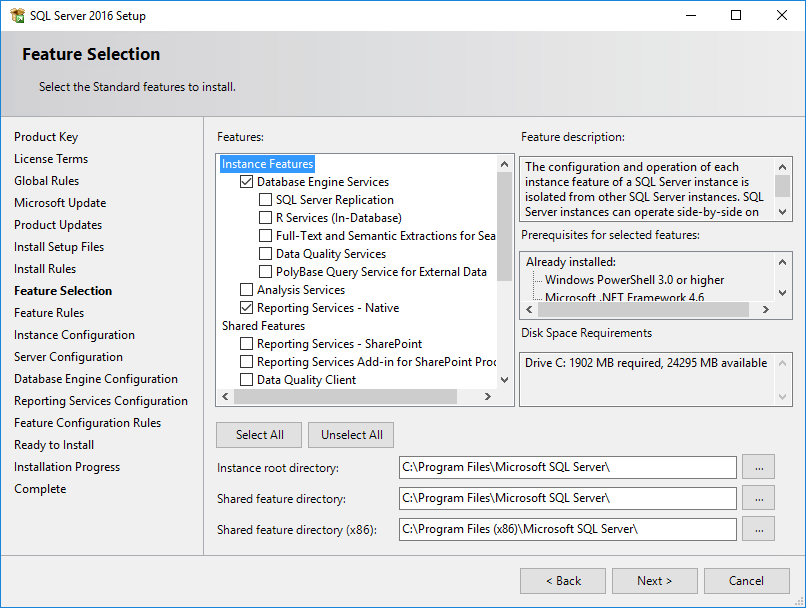 SQL Server Installation Center Feature Selection