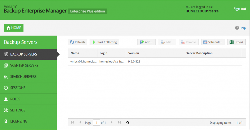 Veeam Backup Enterprise Manager Backup Servers start collecting