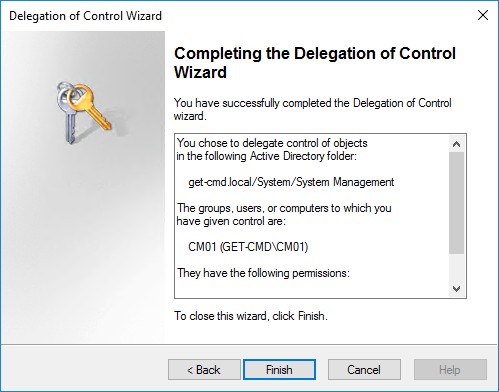 Delegation of Control Wizard Completing the Delegation of Control Wizard