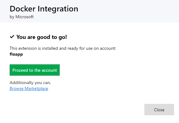 Docker Integration procced the account