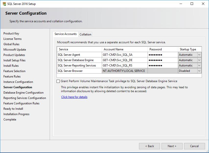 SQL Server 2016 Setup Server Configuration