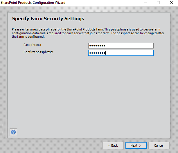 Sharepoint Product Configuration Wizard Specify Farm Security Settings