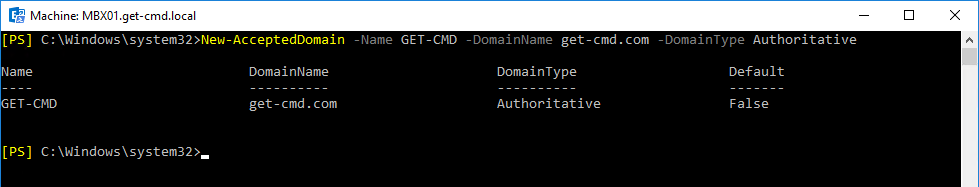 command for configutring accepted domain