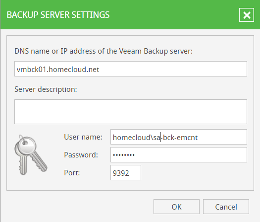 Veeam Backup Enterprise Manager Backup Servers settings