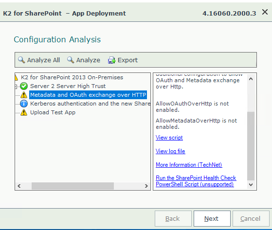 App deployment configuration analysis