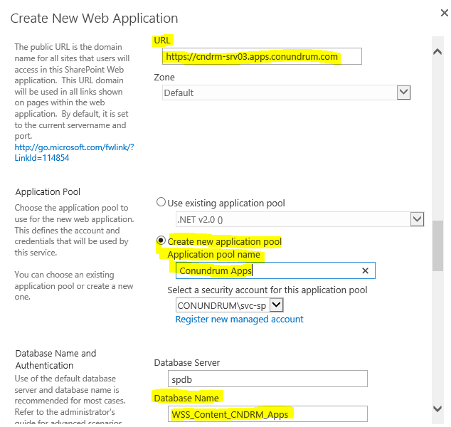 Create new sharepoint web apllication