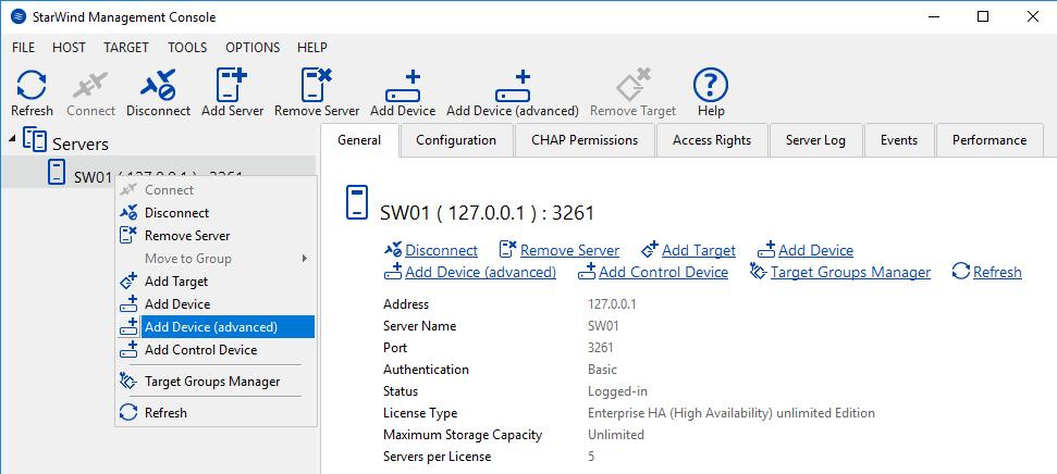 StarWind Managment Console add device