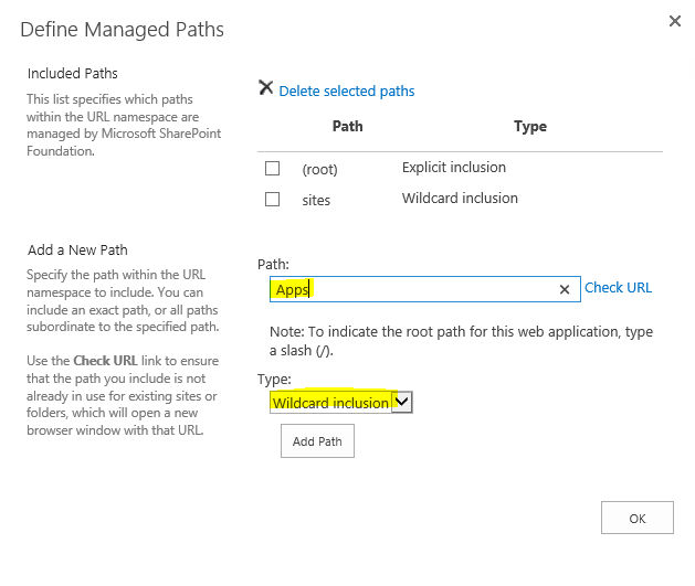 Sharepoint Define Managed Paths