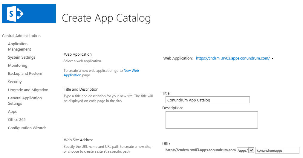 Sharepoint Create app catalog