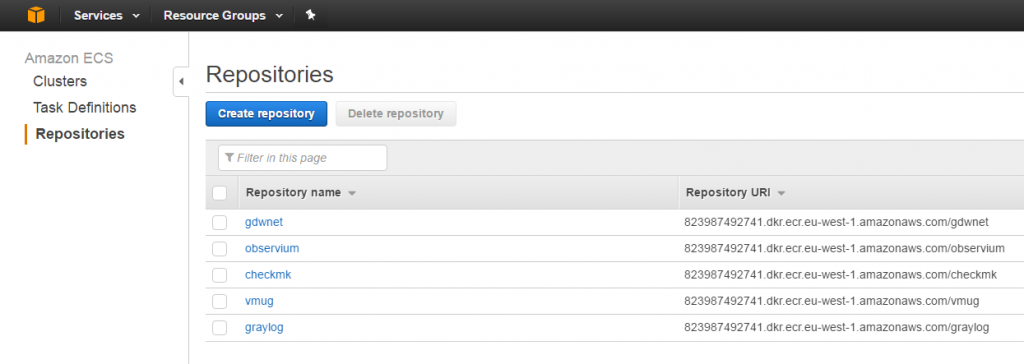 Amazon Services Create Repositories view