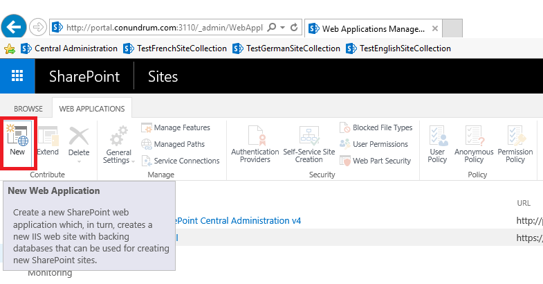 Create new Sharepoint web application