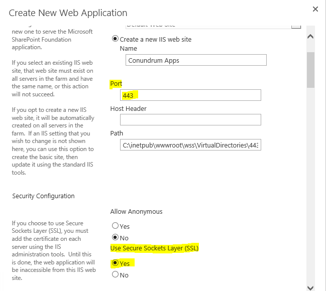 Create new IIS web site in Sharepoint