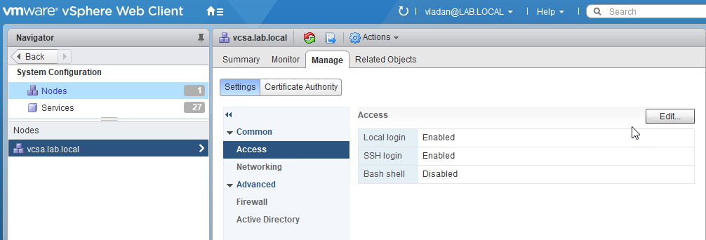 VMware VCSA Enable SSH
