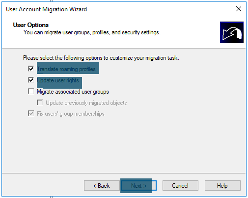 User Account Migration Wizard User migration options