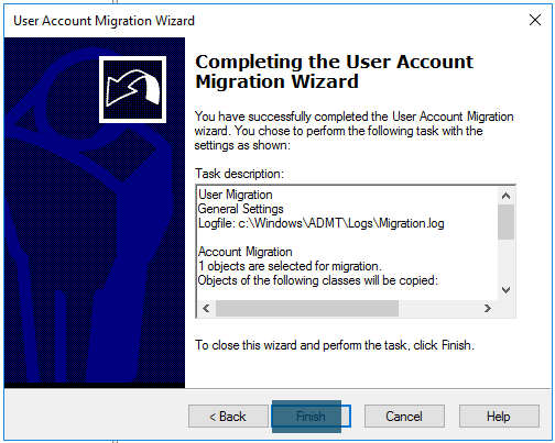 User Account Migration Wizard Completing user migration wizard