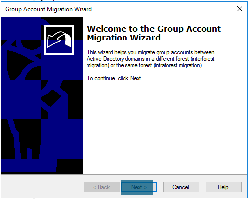 Group account migration wizard