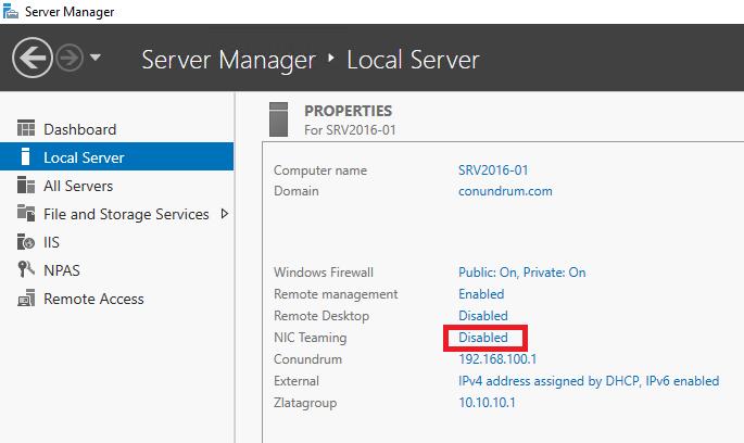 Server Manager Local Server