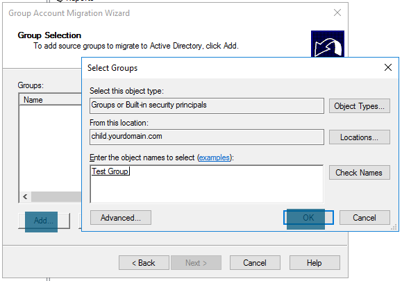 Group Account Migration Wizard Adding groups