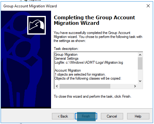 Completing the group account migration wizard