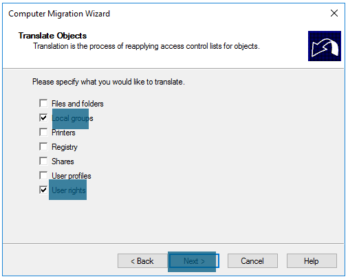 Computer Migration Wizard Computer Translation options