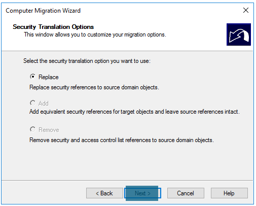 Computer Migration Wizard Security translation options