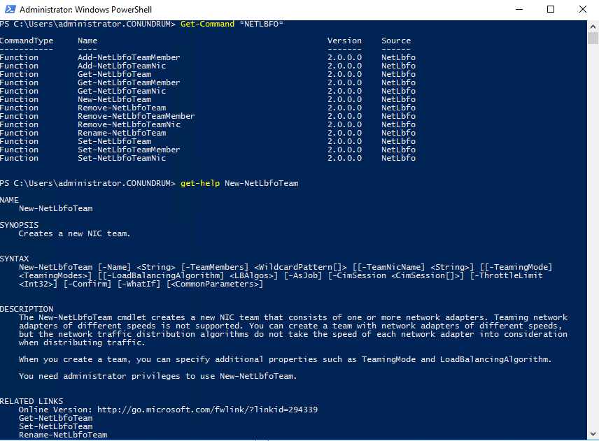 managing NET teaming via PowerShell