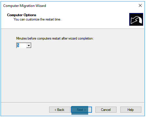Computer Migration Wizard Computer restart delay