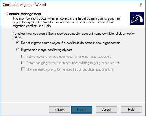 Computer Migration Wizard Computer account conflict management