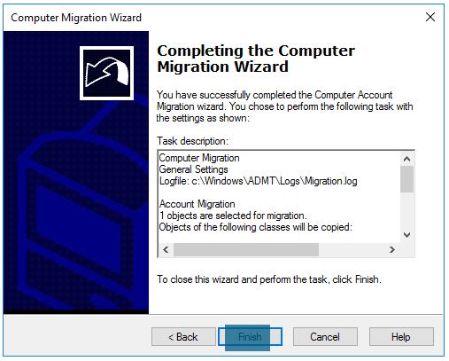 Computer Migration Wizard Complete computer migration wizard