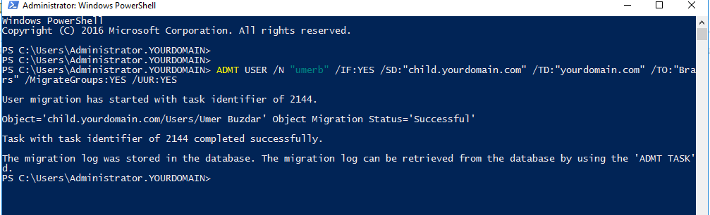 Migrating single user using PowerShell