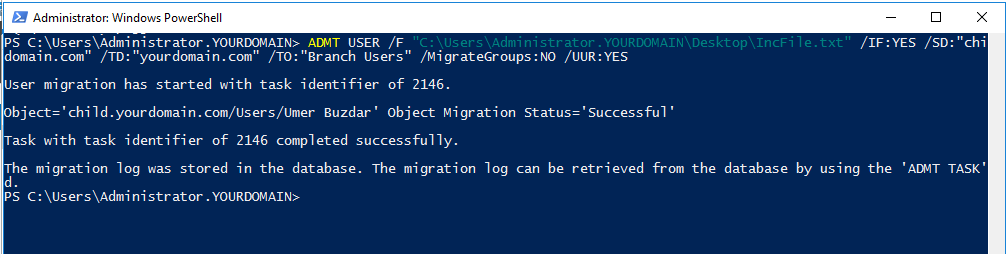 Migrating multiple users with include file