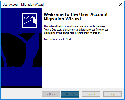 User account migration wizard