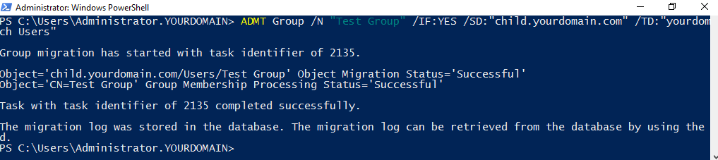 Migrating single group using PowerShell