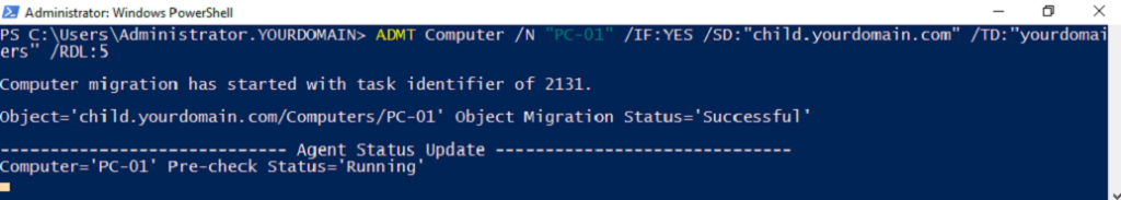 Migrating single computer using PowerShell