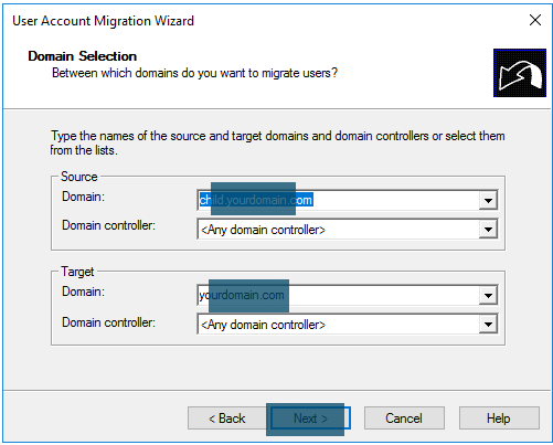 Source and target domains selection