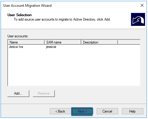 User Account Migration Wizard Adding Users